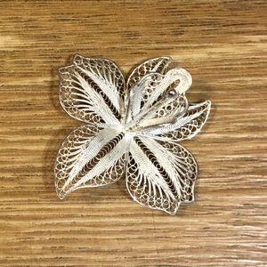 Sterling Flower Brooch